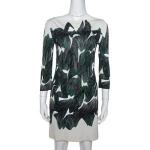 Diane von Furstenberg Cream Abstract Print Silk Ruri Shift Dress S