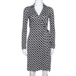 Diane Von Furstenberg Black Chain Link Silk New Jeanne Two Wrap Dress S