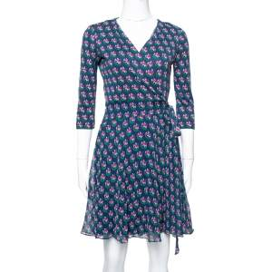 Diane von Furstenberg Navy Blue Floral Print Silk Irina Wrap Dress S