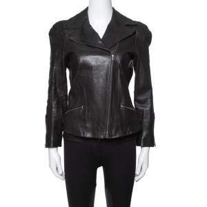 Diane von Furstenberg Black Leather Bikerita Jacket M