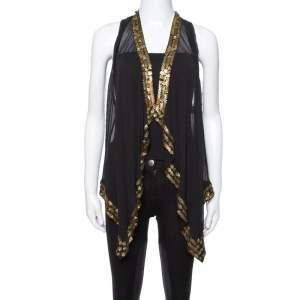 Diane von Furstenberg Black Silk Gold Sequin Embellished Ellowyn Vest M