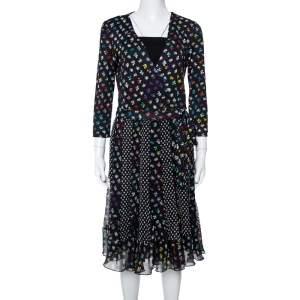 Diane von Furstenberg Floral & Dot Print Paneled Caprice Wrap Dress M