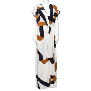 Diane Von Furstenberg Cream Ribbon Print Silk Ethyl Maxi Dress M
