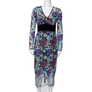 Diane Von Furstenberg Multicolor Floral Guipure Lace Sheath Dress S
