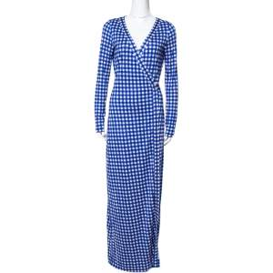 Diane Von Furstenberg Blue Gingham Silk Jersey New Julian Wrap Dress M