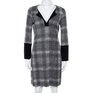 Diane Von Furstenberg Black Printed Jersey New Reina Two Dress M