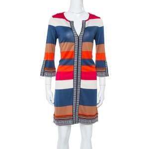 Diane von Furstenberg Multicolor Striped Silk Jersey Rose Shift Dress M