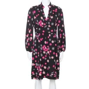 Diane Von Furstenberg Black Polka Dots Silk  Half Sleeve Midi Dress M