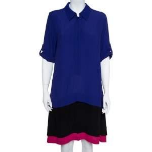 Diane von Furstenberg Colorblock Crepe Layered New Hatsu Dress M
