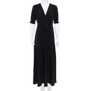 Diane von Furstenberg Black Crepe de Chine Silk Embellished Avianna Gown M