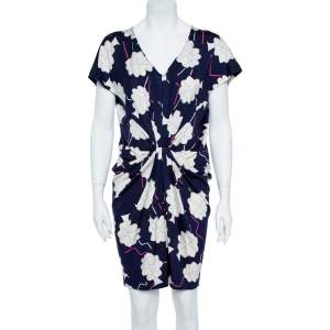 Diane Von Furstenberg Blue/White Floral Print Silk Jersey Draped Nobuko Dress L