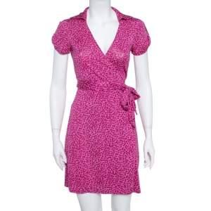 Diane von Furstenberg Pink Printed Silk Jilda Two Wrap Dress S