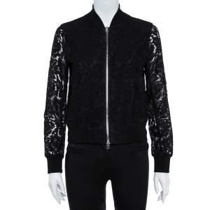 Diane von Furstenberg Black Lace Kennadie Bomber Jacket P