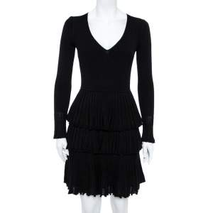 Diane von Furstenberg Black Tiered Plissé Knit Sharlynn Dress P