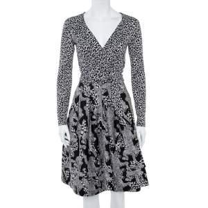 Diane Von Furstenberg Monochrome Printed Jersey Wrap Dress S