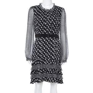 Diane Von Furstenberg Monochrome Floral Printed Silk & Ruffle Detail  Fionna Maxi Dress L