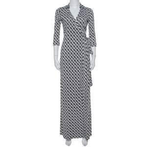 Diane Von Furstenberg Monochrome Collared Abigail Maxi Wrap Dress S
