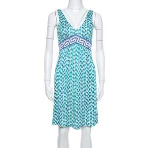 Diane von Furstenberg Blue Printed Silk Jersey Ophelia Dress S
