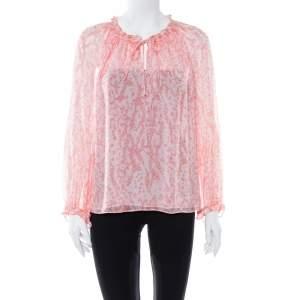 Diane von Furstenberg Pink Coral Print Silk Wynn Blouse M