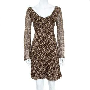 Diane Von Furstenberg Green & Brown Abstract Printed Chiffon Flared Midi Dress