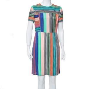 Diane Von Furstenberg Multicolor Burman Striped Knit Sheath Dress L