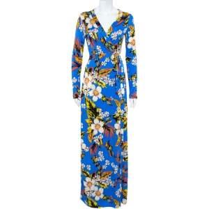 Diane Von Furstenberg Blue Floral Printed Silk Maxi Wrap Dress M