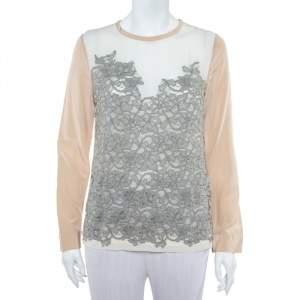 Diane Von Furstenberg Cream Crepe Lace Detail Branwen Top M