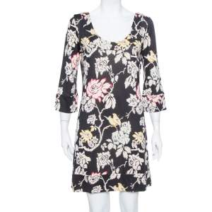 Diane von Furstenberg Black Floral Printed Silk Knit Shift Dress L