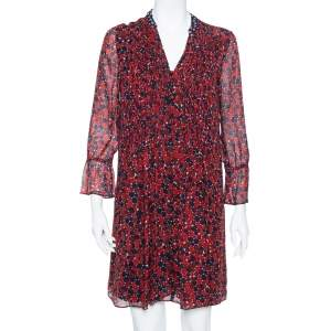 Diane von Furstenberg Red & Navy Blue Silk Pintuck Detail  Kourtini Shift Dress M