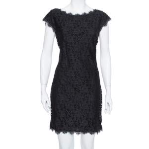 Diane Von Furstenberg Black Lace Barbara Shift Dress L