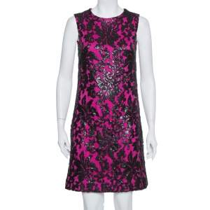 Diane Von Furstenberg Pink Sequin Embellished Lace Kaleb Dress S