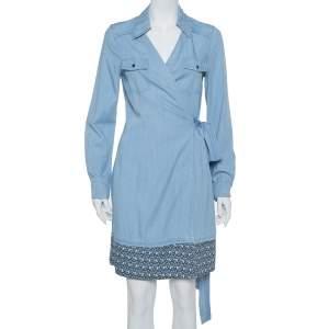 Diane Von Furstenberg Blue Chambray Contrast Hem Detail Savion Wrap Dress M