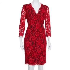 فستان ديان فون فرستبيرغ ملتف مزين مموج دانتيل أحمر مقاس وسط (ميديوم)