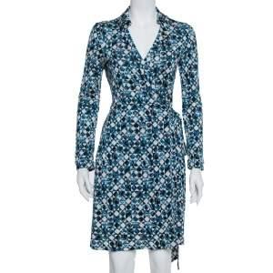 Diane Von Furstenberg Blue Silk Knit New Jeanne Two Wrap Dress M
