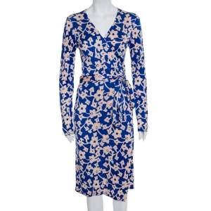 فستان ديان فون فرستنبيرغ  متوسط الطول ملتف تريكو مطبوع مورد أزرق مقاس وسط (ميديوم)