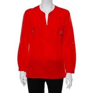 Diane Von Furstenberg Red Silk Pocket Detail Danielle Top S