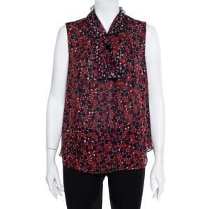 Diane Von Furstenberg Red & Navy Blue Printed Silk Neck Tie Detail Fernanda Tank Top L