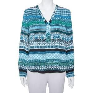 Diane Von Furstenberg Multicolor Printed Silk Arden Top L