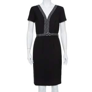 Diane Von Furstenberg Black Knit Contrast Trim Detail Belted Maisie Dress M