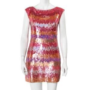 Diane Von Furstenberg Multicolor Sequin Embellished Sleeveless Shift Petite Fit Manaus Dress S