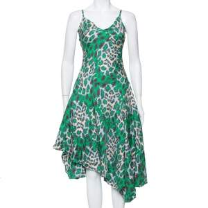 Diane Von Furstenberg Green Animal printed Silk Asymmetric Hem Midi Dress M