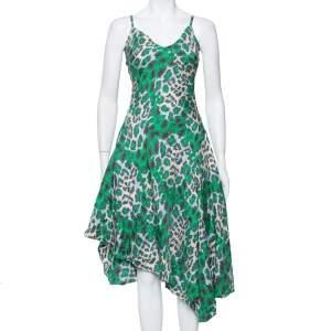 فستان ديان فون فرستنبيرغ متوسط الطول حافة غير متماثلة حرير مطبوع نقشة افهد أخضر مقاس وسط (ميديوم)