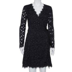 Diane Von Furstenberg Navy Blue Lace Shaelyn Wrap Dress M