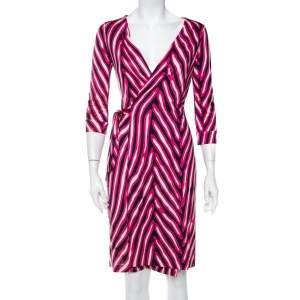 Diane Von Furstenberg Pink Silk Knit New Julian Wrap Dress S