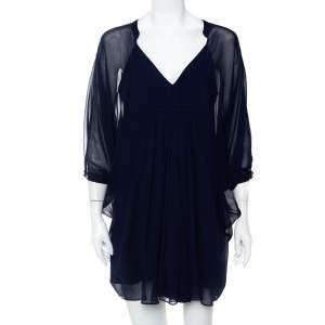 Diane Von Furstenberg Navy Blue Silk Fluerette Mini Dress S
