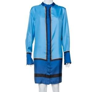 فستان ديان فون فرستنبيرغ حرير ساتان أزرق واسع مقاس متوسط - ميديوم