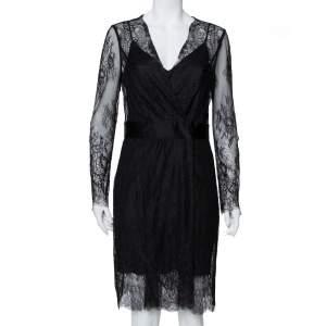 Diane Von Furstenberg Black Lace Faux Wrap Midi Dress L