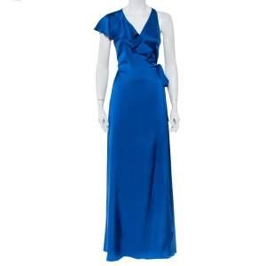 Diane Von Furstenberg Royal Blue Satin Ruffled Wrap Long Dress S