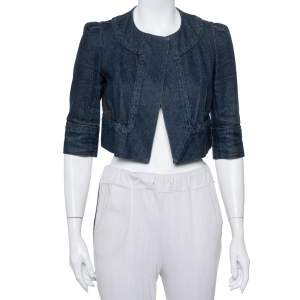 Diane Von Furstenberg Navy Blue Denim Remo Cropped Jacket S