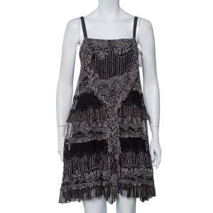 Diane Von Furstenberg Black Printed Silk Lace Trim Detail Tiered Taleen Mini Dress M